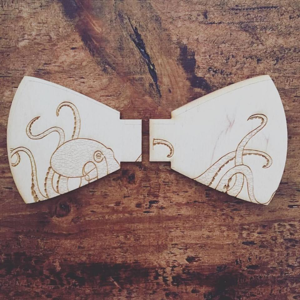 Octopus Wooden Bow Tie Prototype