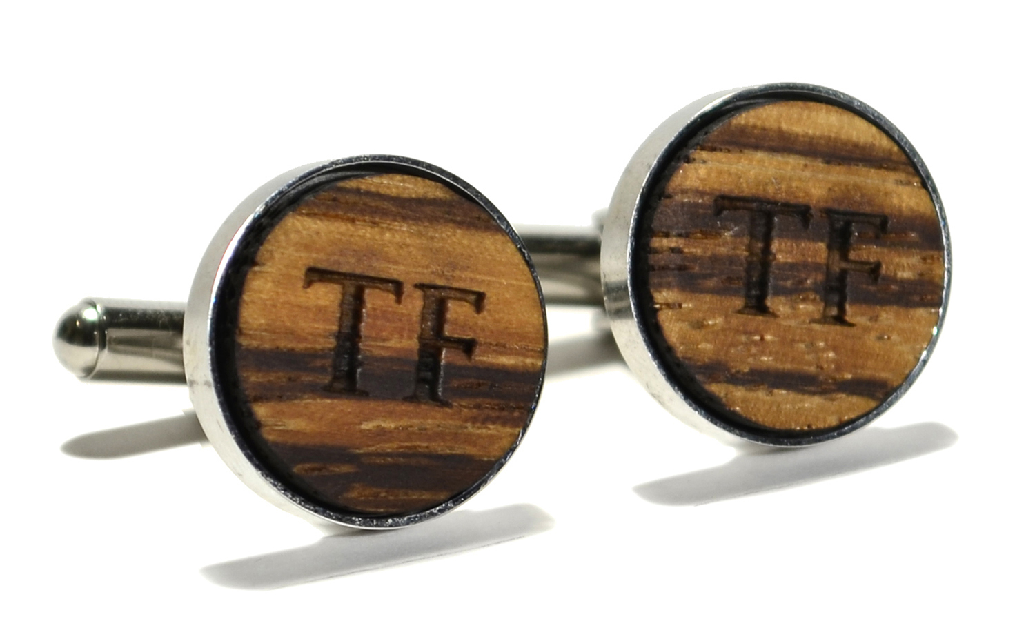 zebrawood wooden monogram stainless steel cuff links 16mm