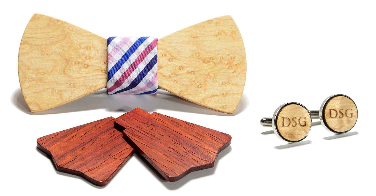 bordeaux interchangeable wood bow tie and monogram stainless ste