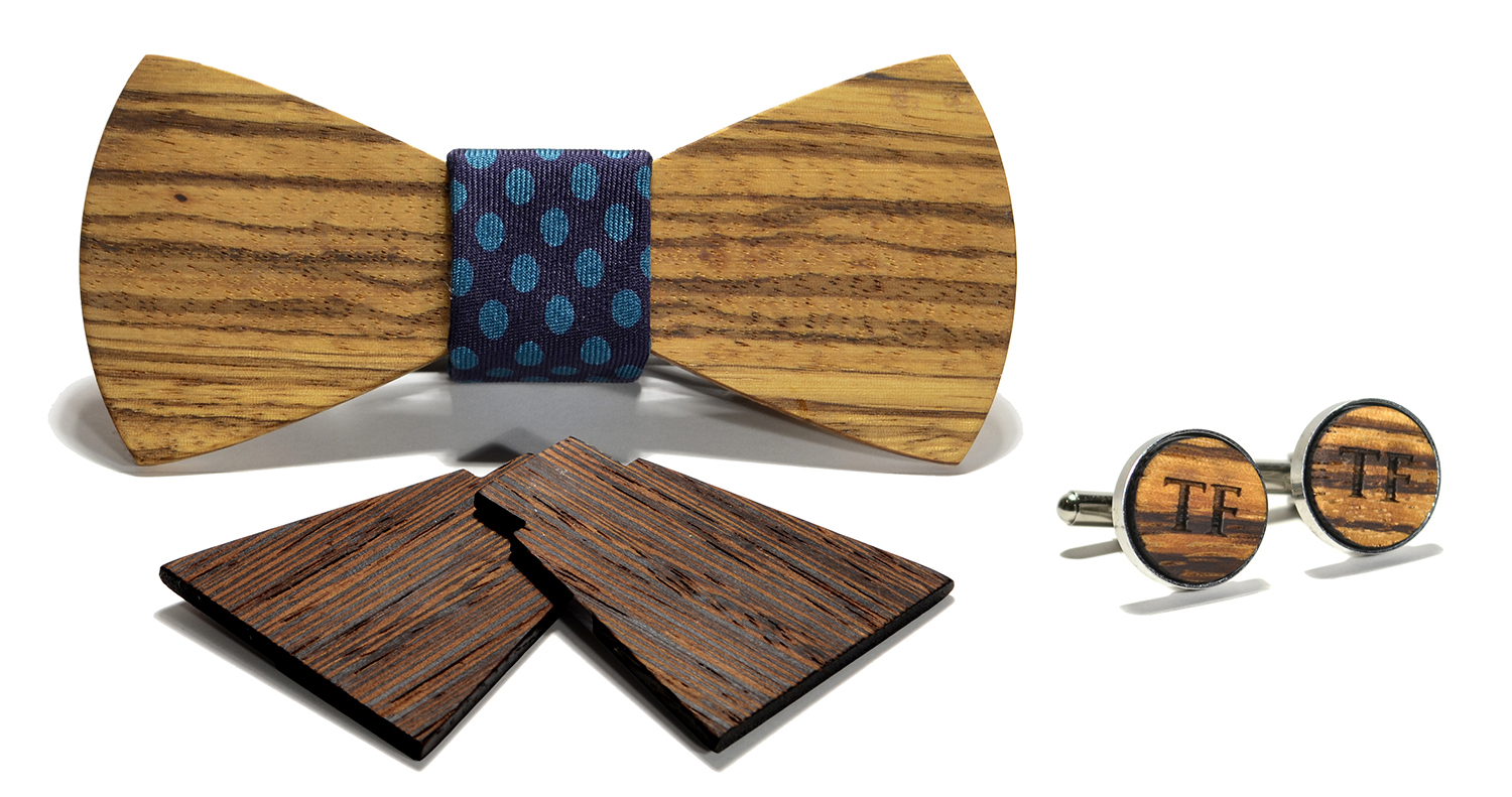 cambridge interchangeable wooden bow tie and monogram stainless
