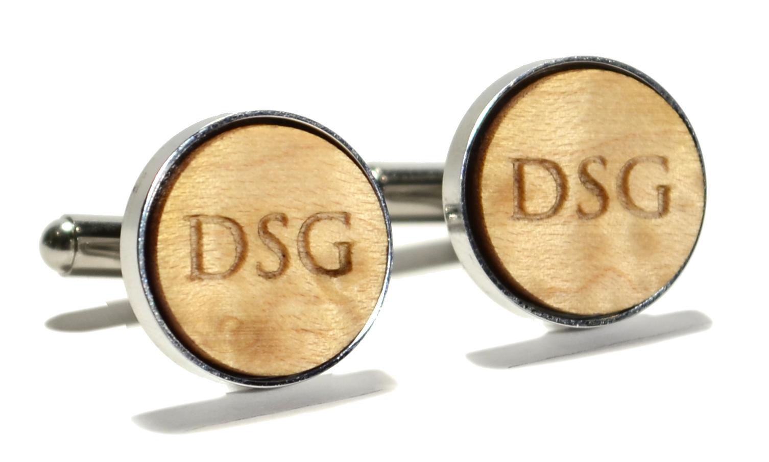 bridseye maple wood monogram stainless steel cufflinks 16mm