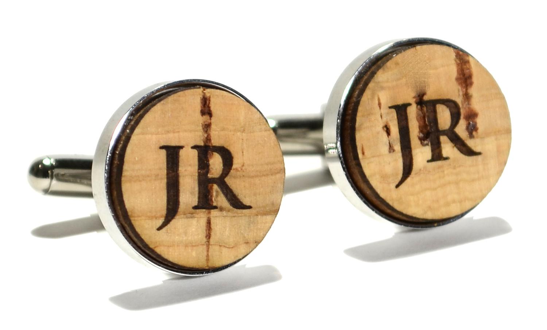 Cork wood monogram stainless steel cufflinks 16mm