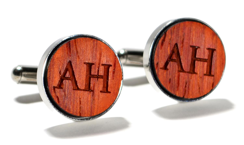 Padauk wood monogram stainless steel cufflinks 16mm