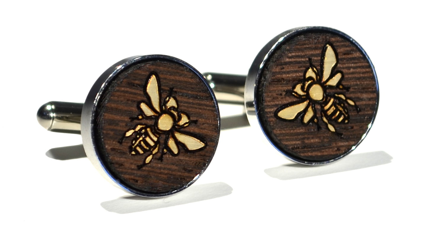 Wenge wood gold overlay bee stainless steel cufflinks 16mm