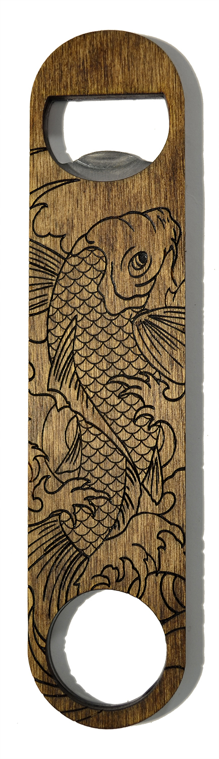 wooden bottle opener koi fish
