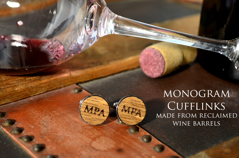 Switchwood wine barrel wood monogram stainless steel cufflinks 1