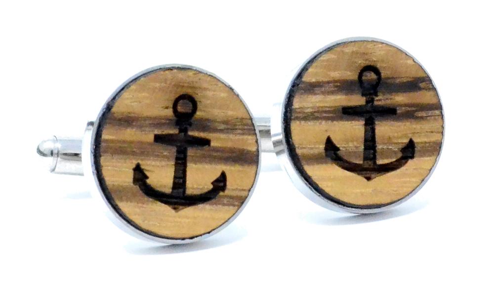 Anchor Cufflinks Zebrawood