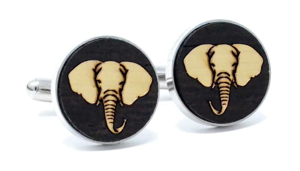 Golden Elephant Cufflinks Wenge