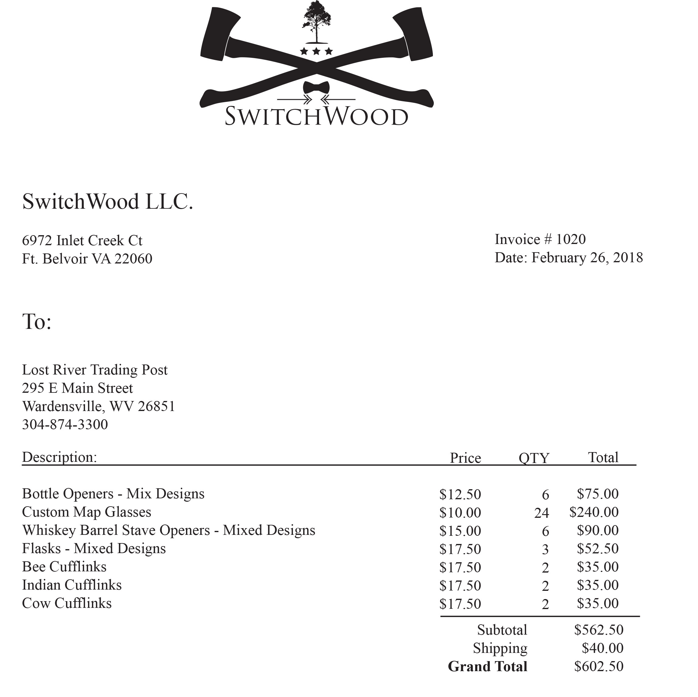 Switchwood Invoice 1020
