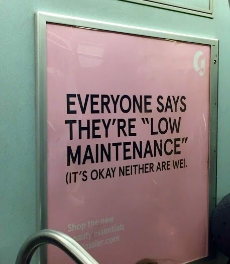 A Glossier subway ad that I'd like to steal and hang in my room