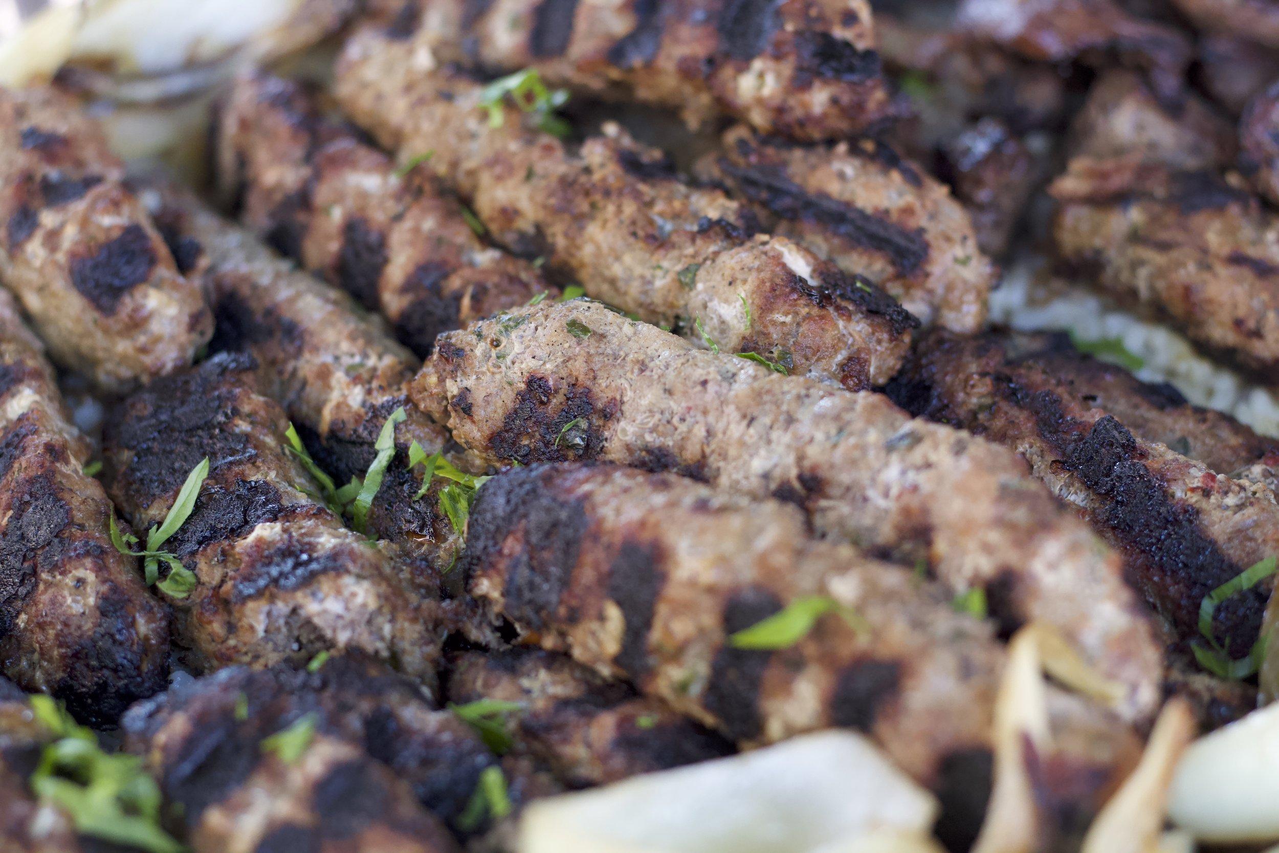 Kefta Shish Kabab w/ Rice and Vegetables   M $77.99 / L $155.99