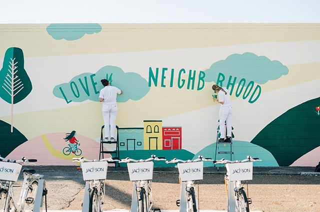 🎶 I have always wanted to have a neighbor just like you / I have always wanted to live in a neighborhood with you 🎶 Mr. Rogers' words were what stuck in my mind as I developed an idea for this mural, and by the end of the process I felt the sentiment so deeply. From all the people who offered help or supplies or encouragement, and the people I met who walked by every day, I felt a moment of pride to be exactly where I was. No, our neighborhood isn't perfect, but there's something so worthwhile about believing in the place you're in. #ladieswhopaint