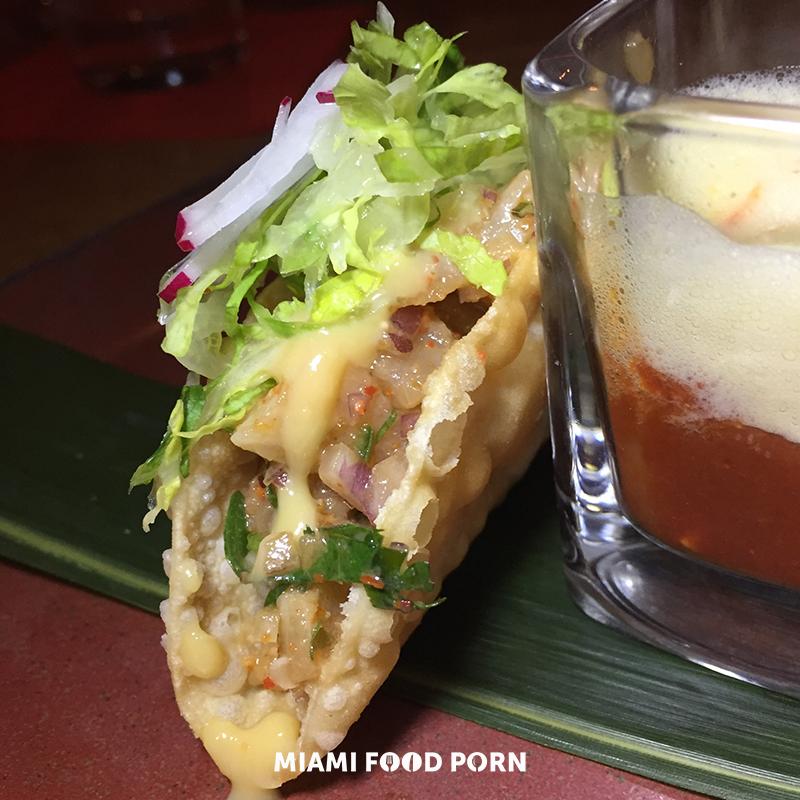 CRISPY YELLOWTAIL TAQUITO*avocado and roasted corn miso