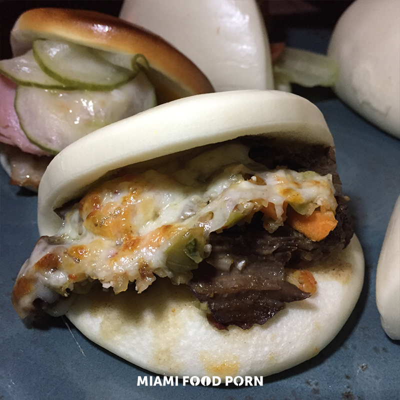 Philly Cheesesteak Bao (Beef short rib, swiss, pickled vegetables)