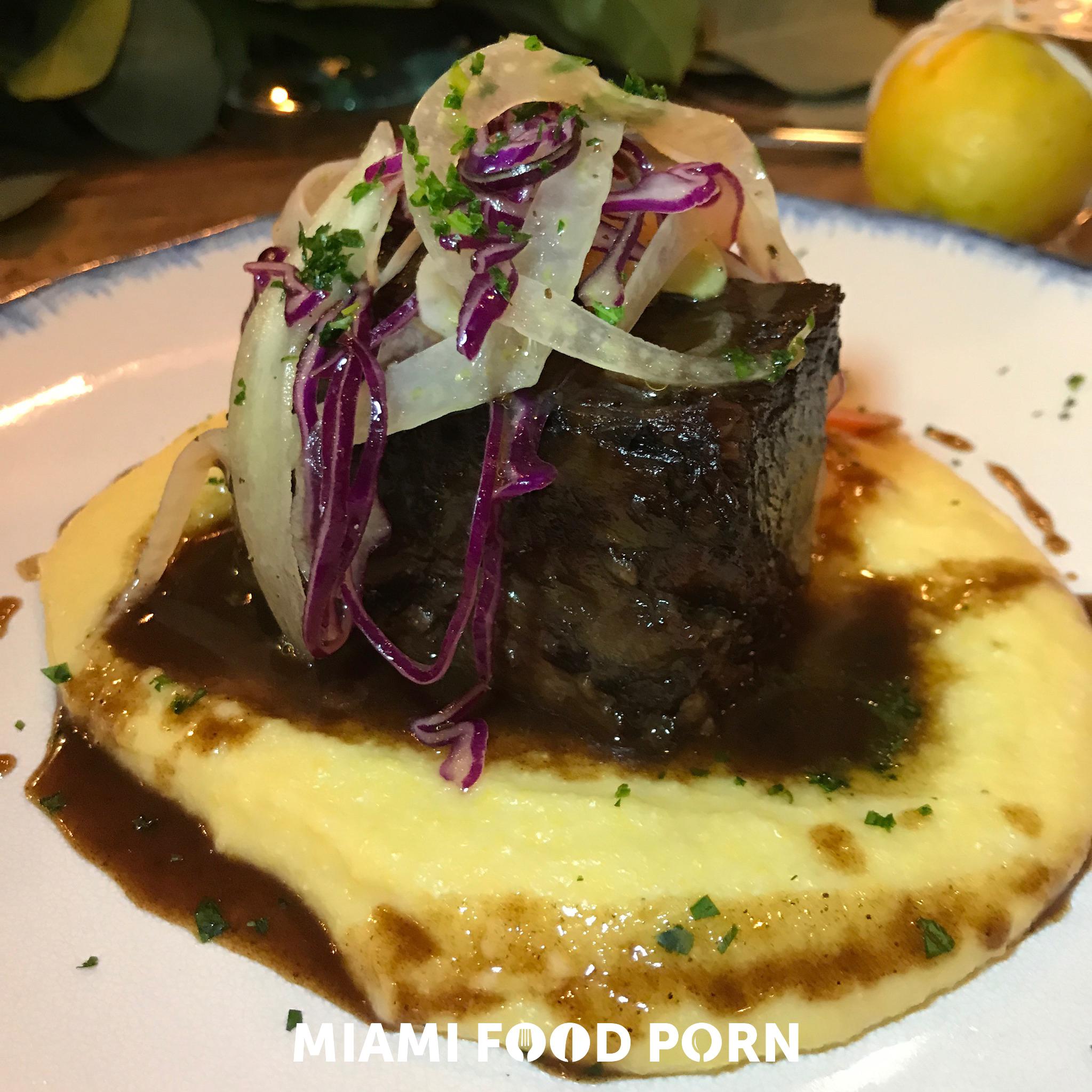 Brasato amarone braised short rib with soft polenta