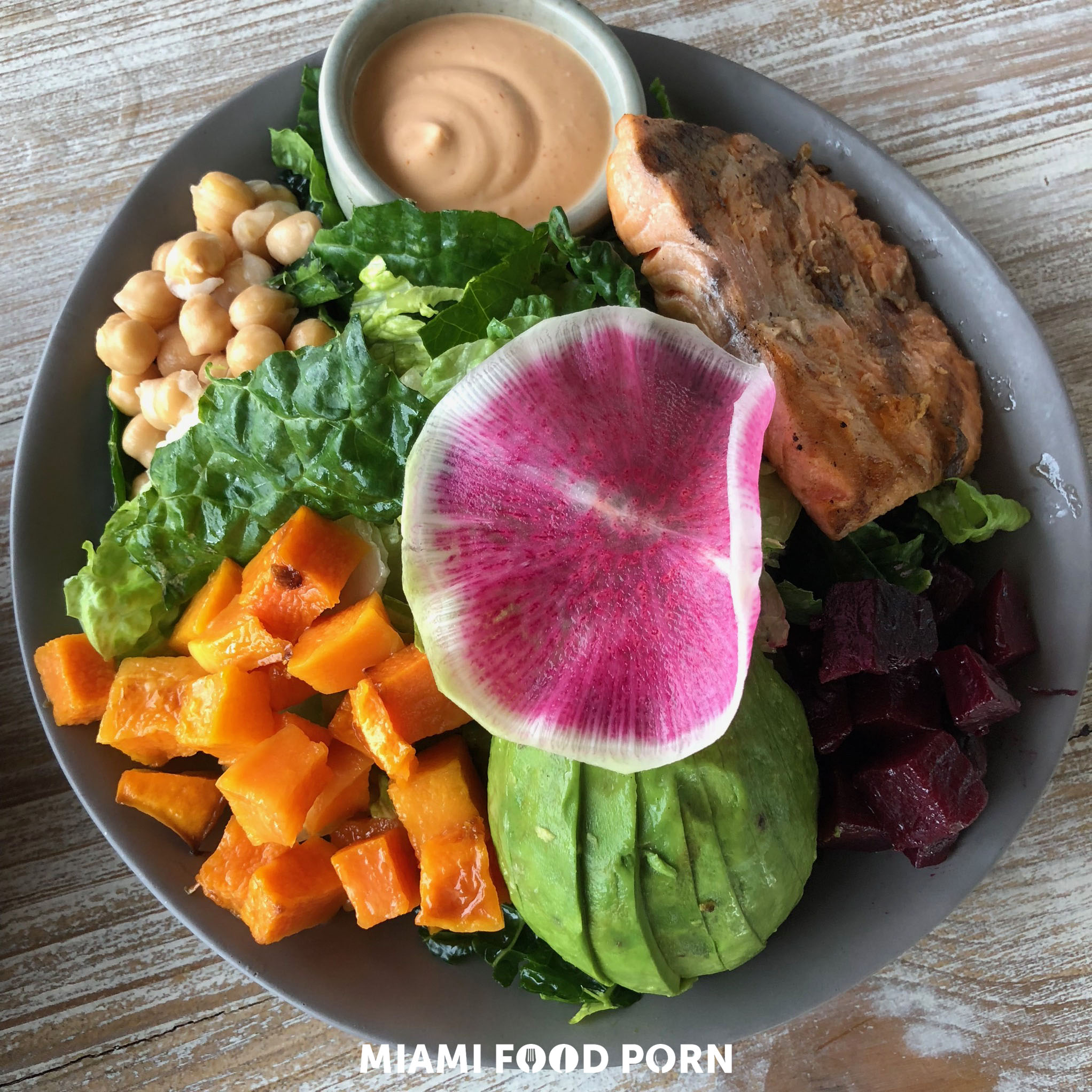 Vegan Chop: Kale, romaine, butternut squash, purple beet, avocado, garbanzo beans, red wine vinaigrette