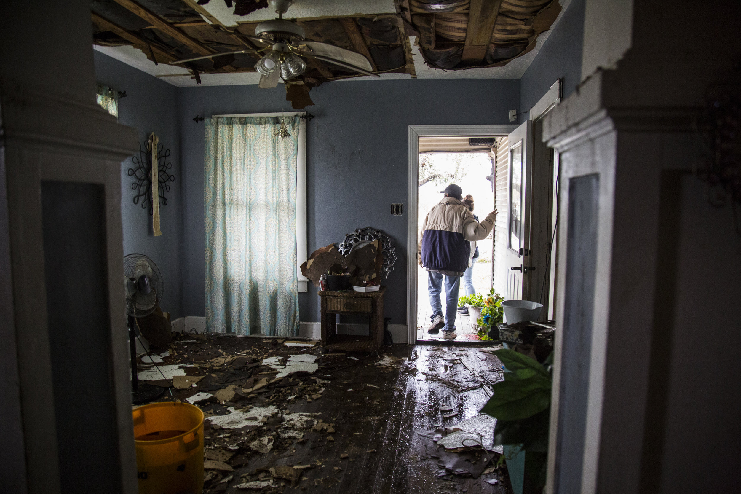 Lucas Garcia, 60, walks through his destroyed home in Refugio, Texas. Garcia and seven other family members along with seven animals rode out Hurricane Harvey in a single room in the home.