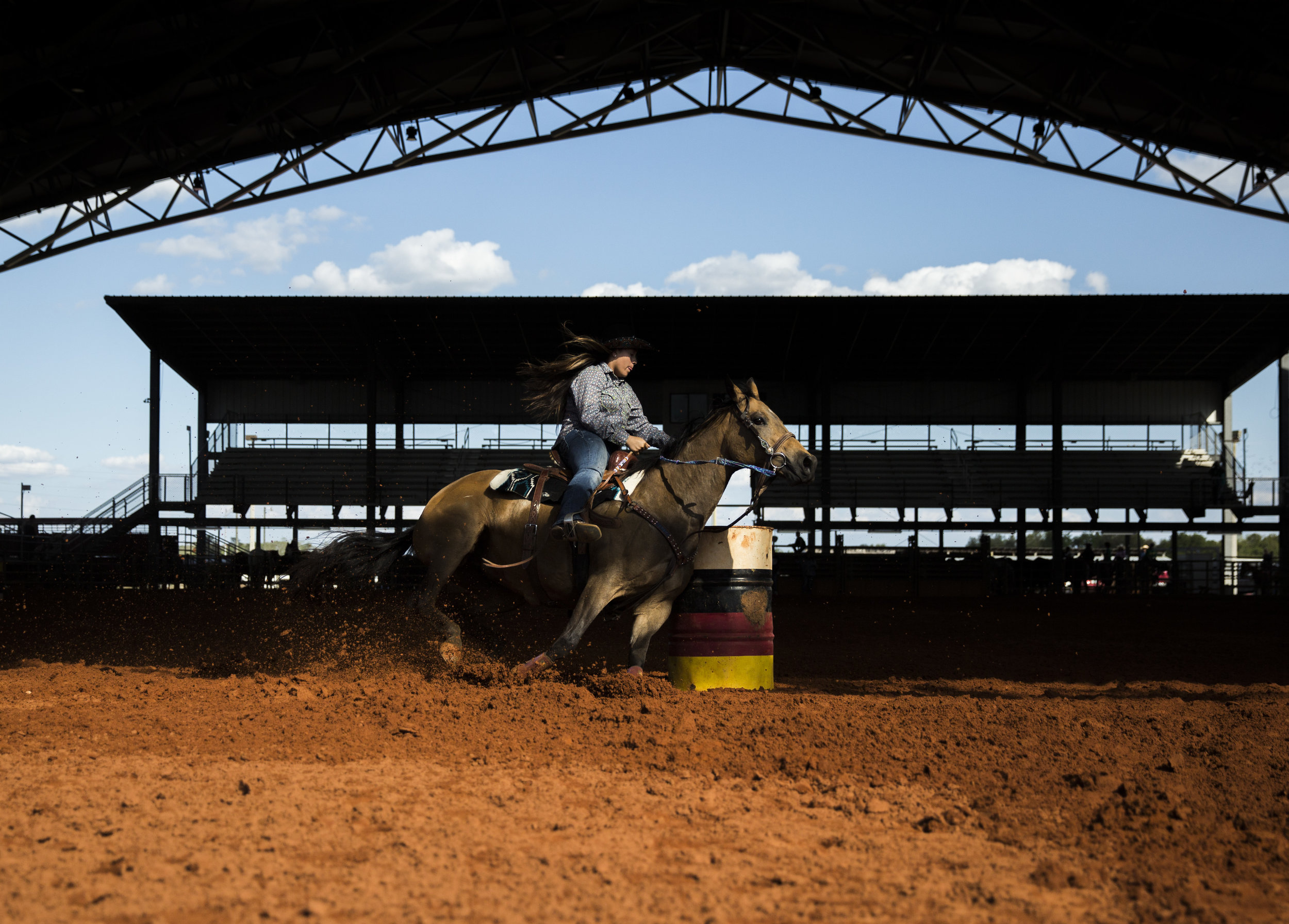 Budha Jumper competes in 13-17 year old barrel racing during the Junior Cypress Memorial Rodeo at the Junior Cypress Rodeo Arena in Clewiston, Fla. on Saturday, March 17, 2018.