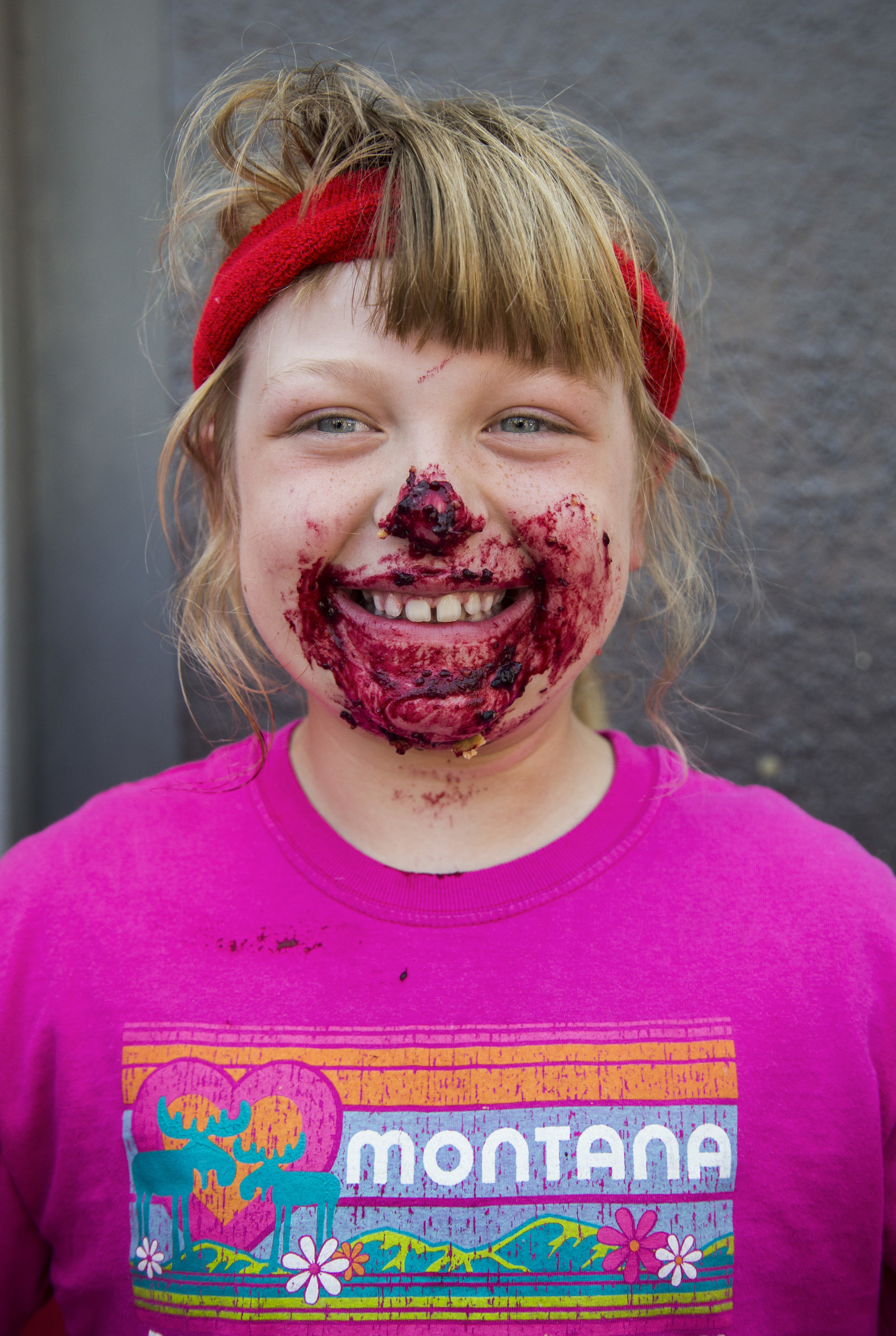 Samantha Redman, 9, one of the Snohomish Pie Company pie eating contest winners during Kla Ha Ya Days on Saturday, July 21, 2018 in Snohomish, Wash.