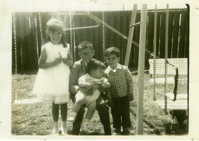 Margaret and her three brothers in 1968.