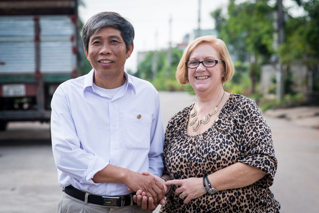 """Tong Sy Thanh and Susan Mitchell-Mattera. They were five years old when their fathers were killed. Mr. Thanh's father was killed in 1968 in the Hue battlefield. He said he understands our fathers had to serve their nations but that """"getting together with each other gives us a chance to make things better."""""""