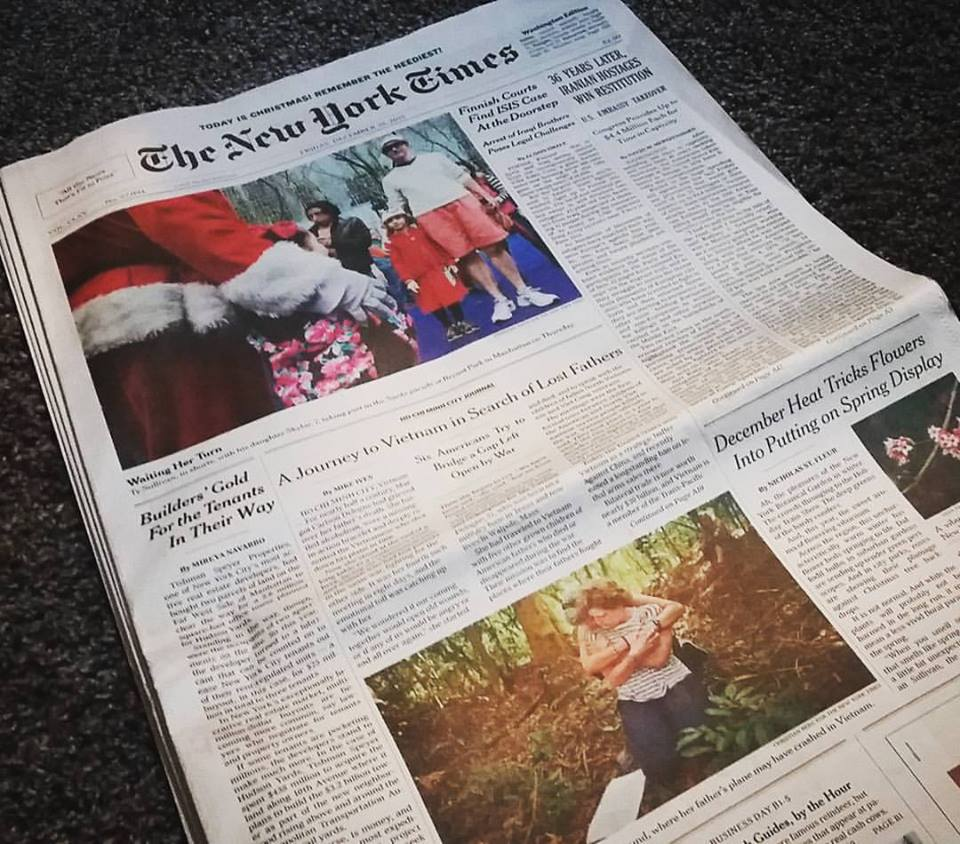 The New York Times US National Edition. The story was in the top 10 of the most emailed, and the most shared on Facebook, on Christmas Day. Photo by Jared Groneman.