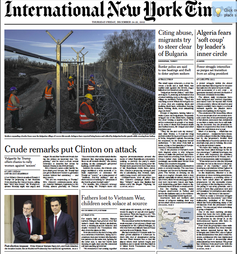 "The European edition of the New York Times on Christmas Day, 2015. The 2 Sides Project story is in the middle of the front page, under the headline ""Fathers lost to Vietnam War..."""