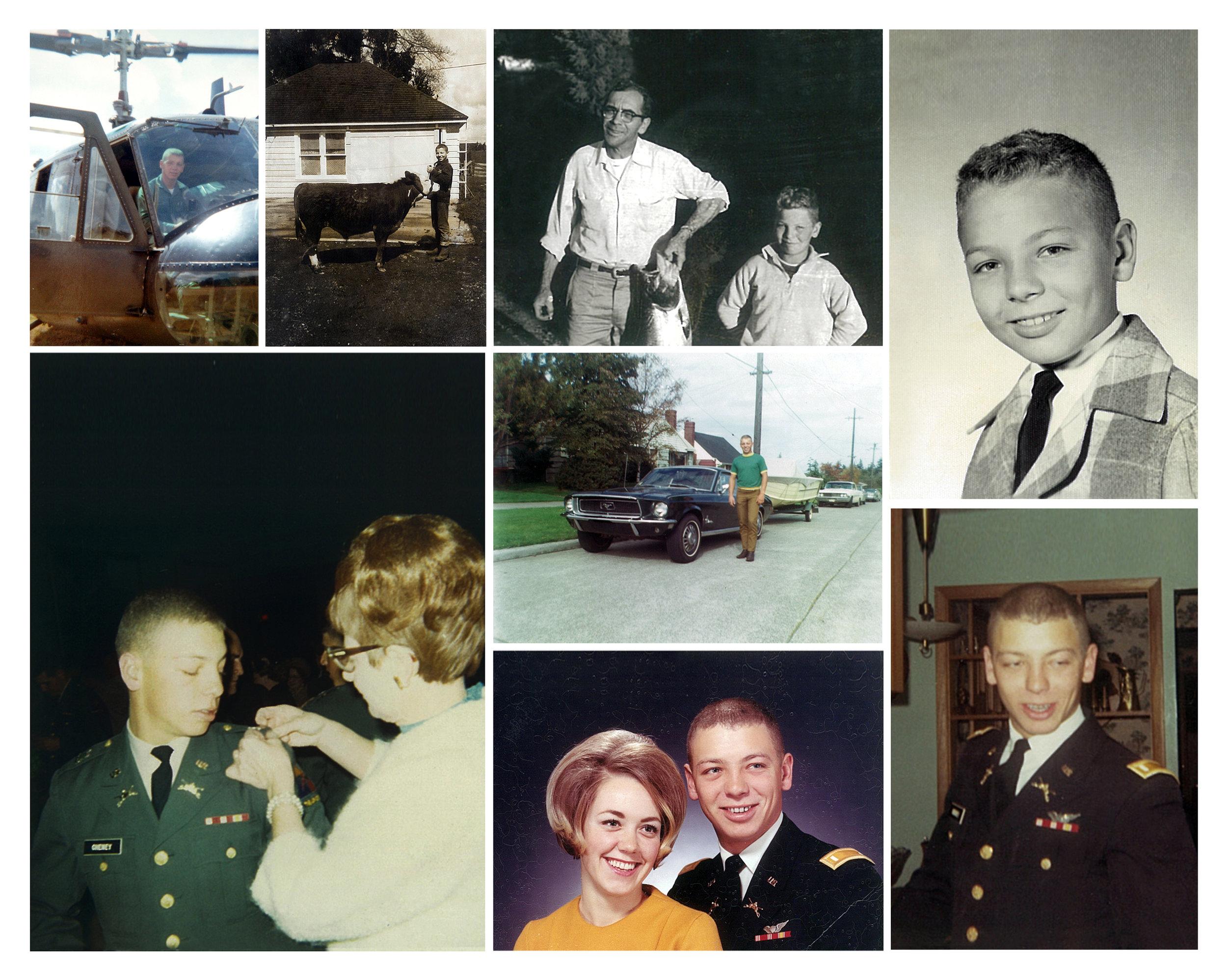 Family photos of Dan Cheney, his fiancee Gail Garcelon and his parents, Rae and Bun Cheney. Photo courtesy Jerilyn Brusseau.Ảnh gia đình của Dan Cheney, hôn thê của anh Gail Garcelon, và cha mẹ của anh, bà Rae và ông Bun Cheney.