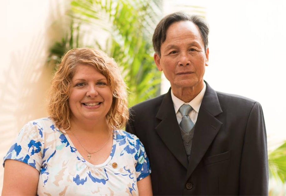 Patty Young Lowe with Mr. Liem after the historic meeting. Patty's father, HM1 Jack Young (Navy), was killed in Da Nang on March 11, 1969. Mr. Liem's father was killed in the early 1970s. Photo courtesy Anthony Istrico, Istrico Productions.