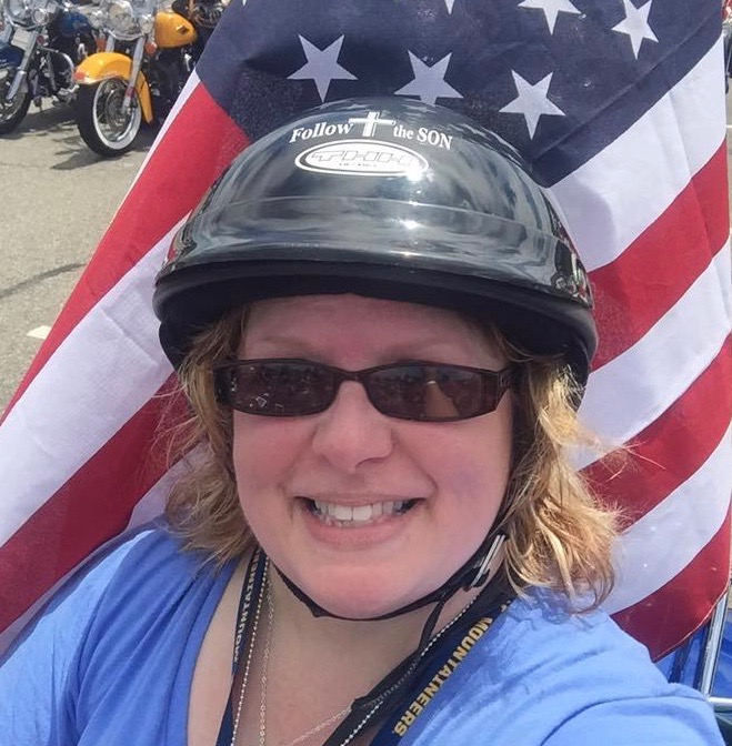 Patty ready to ride in Rolling Thunder on Memorial Day in Washington, D.C.