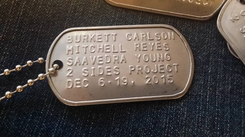 Dog tags commemorating the trip from Sons and Daughter in Touch (SDIT) sister Jeanette Chervony.