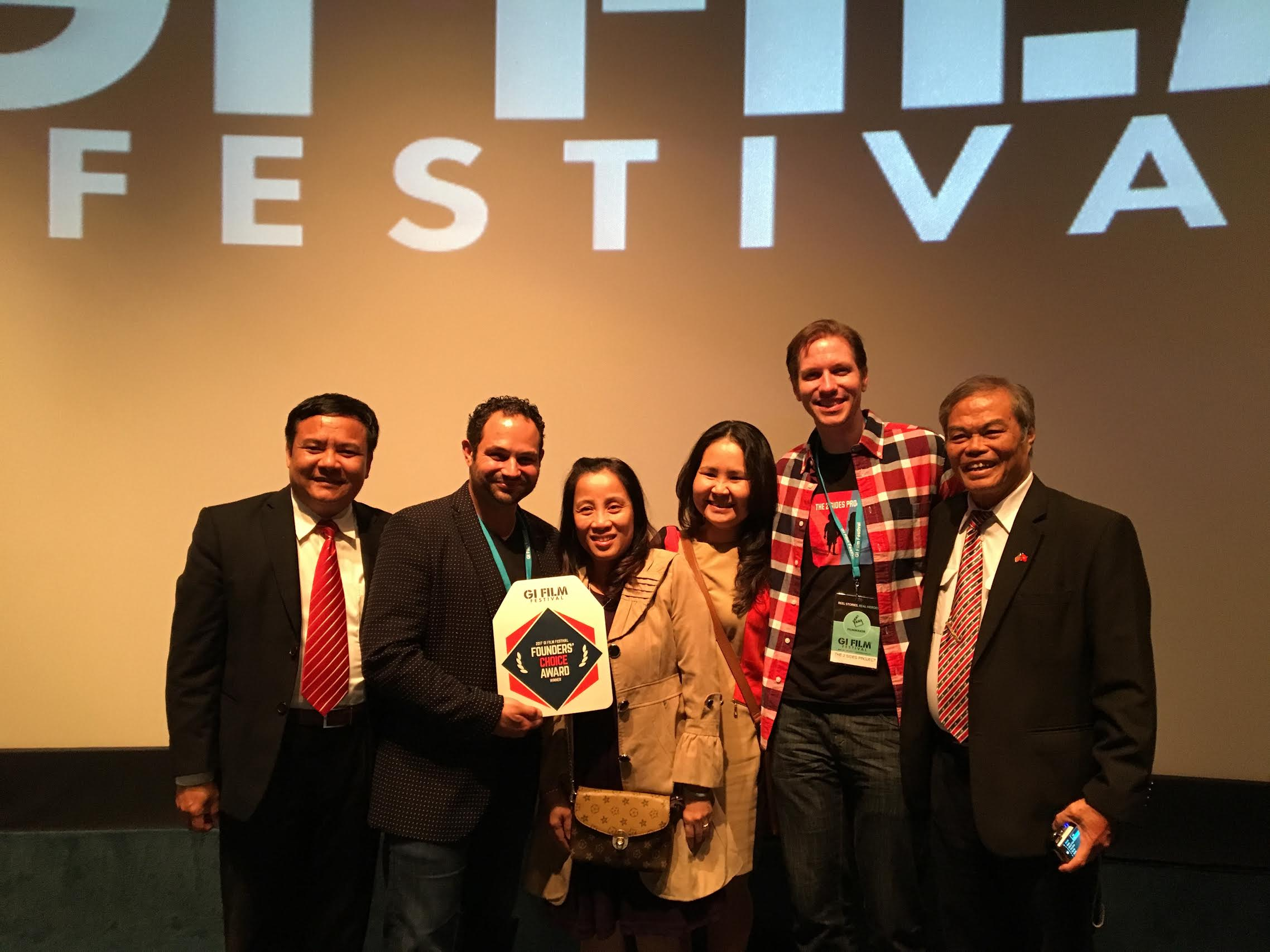 Celebrating the Founders' Choice Award win at the GIFF Washington DC.