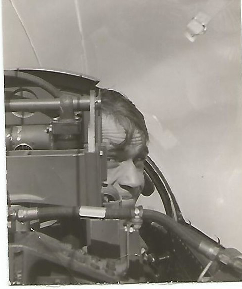 Captain Brumet in flight, 1955.