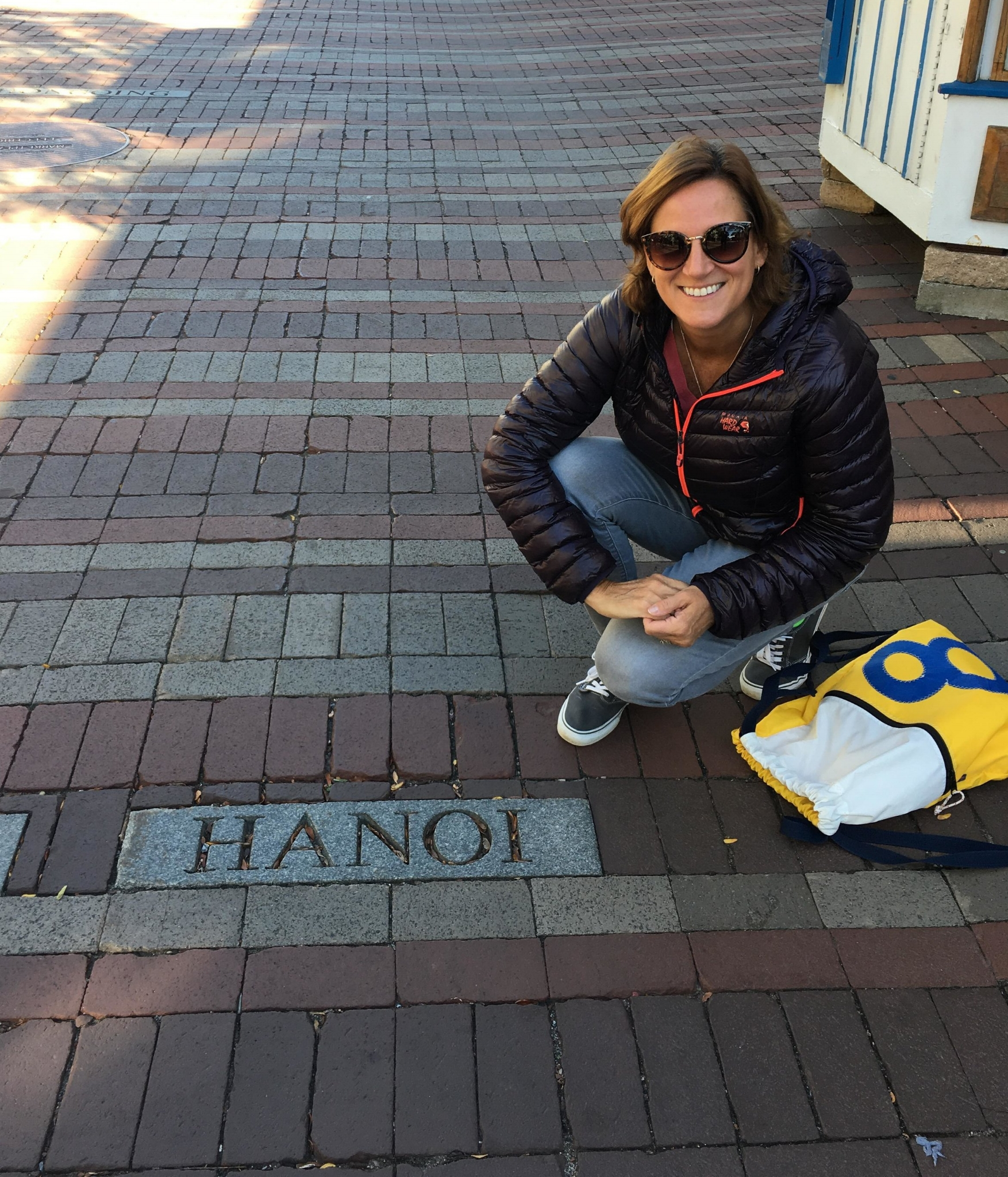 The Hanoi marker on Church Street in Burlington, Vermont