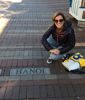 The Hanoi marker on Church Street in Burlington, Vermont