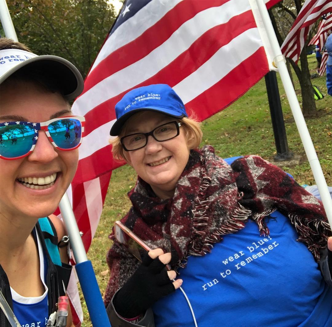 Amy Bushatz, right, and Susan celebrate after the Marine Corps Marathon