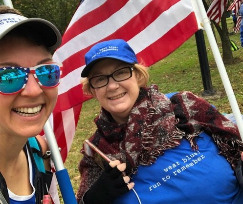 Amy Bushatz, right, and Susan celebrate after the Marine Corps Marathon