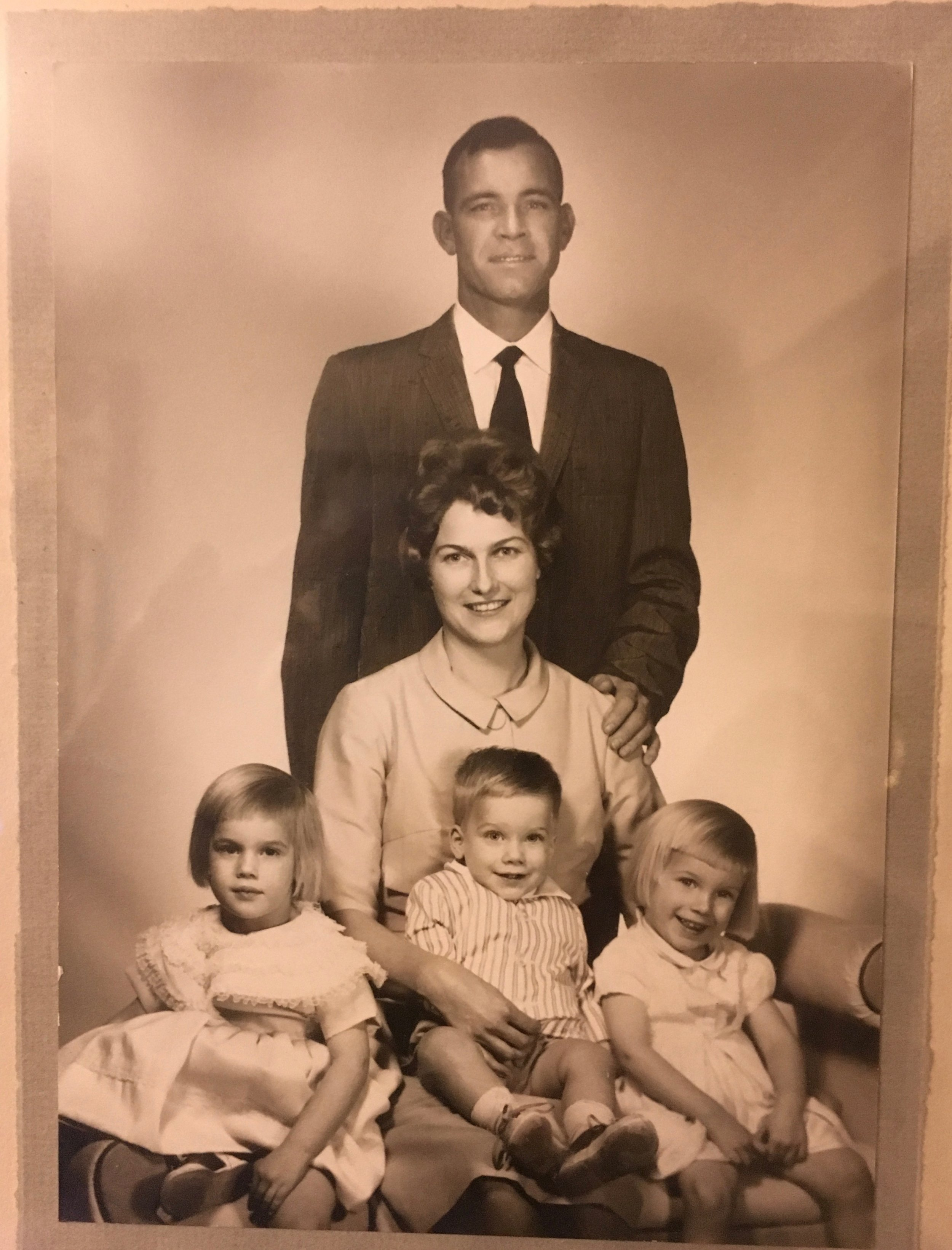 Family photo, early 1960s. Bonnie is on the right, brother Woody is in the middle, and Barbara is on the left.