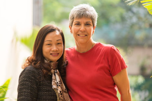 Nguyen Le Anh Khanh with Margaret Von Lienen. Ms. Khanh's father is listed as MIA.She received a letter about what happened to him from her father's unit, but the letter was soaked in a flood that made the writing indecipherable. Margaret's father, Robert Saavedra, was a Navy pilot and is also MIA. He was shot down over the province of Ha Tinh on  April 28, 1968.