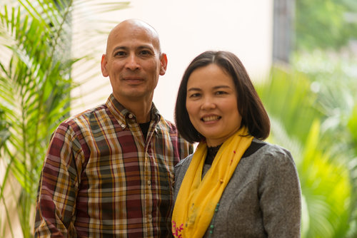 Ron Reyes with Luu Thi Kim Hien. They met in Hanoi at the very first meeting of sons and daughters from both sides. Ron and Luu Thi Kim Hien's children are the same age.