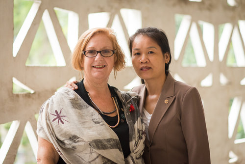 """Susan Mitchell-Mattera with Le Thi Thu. Ms. Thu's father was a """"war invalid"""" whose hands and eyes were badly injured in the war. He died in 2006 and was recognized as a war martyr."""
