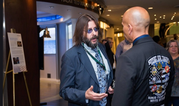 Actor Judd Nelson (The Breakfast Club, St. Elmo's Fire) speaks with Ron Reyes after watching The 2 Sides Project film.