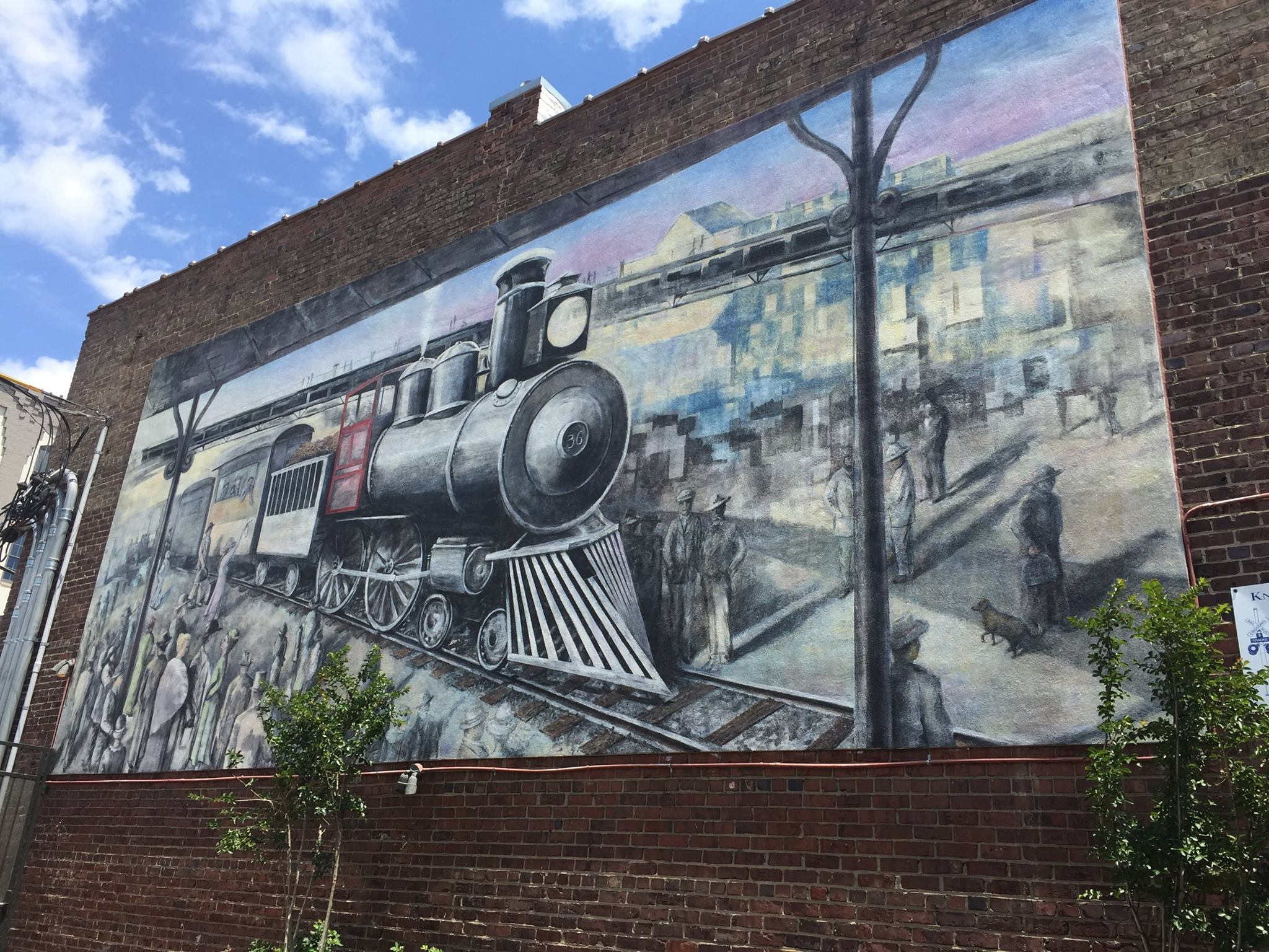 The Knoxville Historic Train Mural   Located at 100 North Central Street, in the Lonesome Dove/Love Shack restaurant courtyard. The mural was first completed in 2002 and later restored in 2017 by artist Walt Fieldsa.