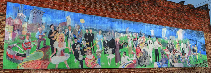 The Knoxville Music History Mural   Located 116 East Jackson in the Old City, the music history mural was first completed in 2000 by artist Walt Fieldsa. Fielda restored the mural in 2017.