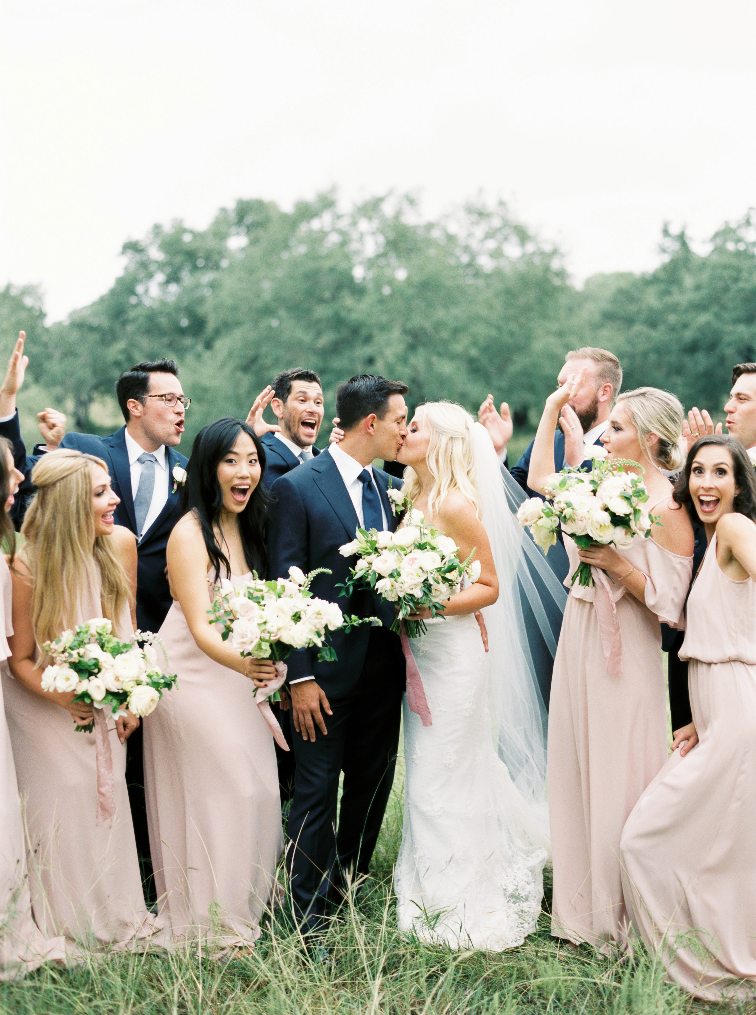 Austin Bride, Groom, Wedding Party with White and Blush Romantic Bouquets