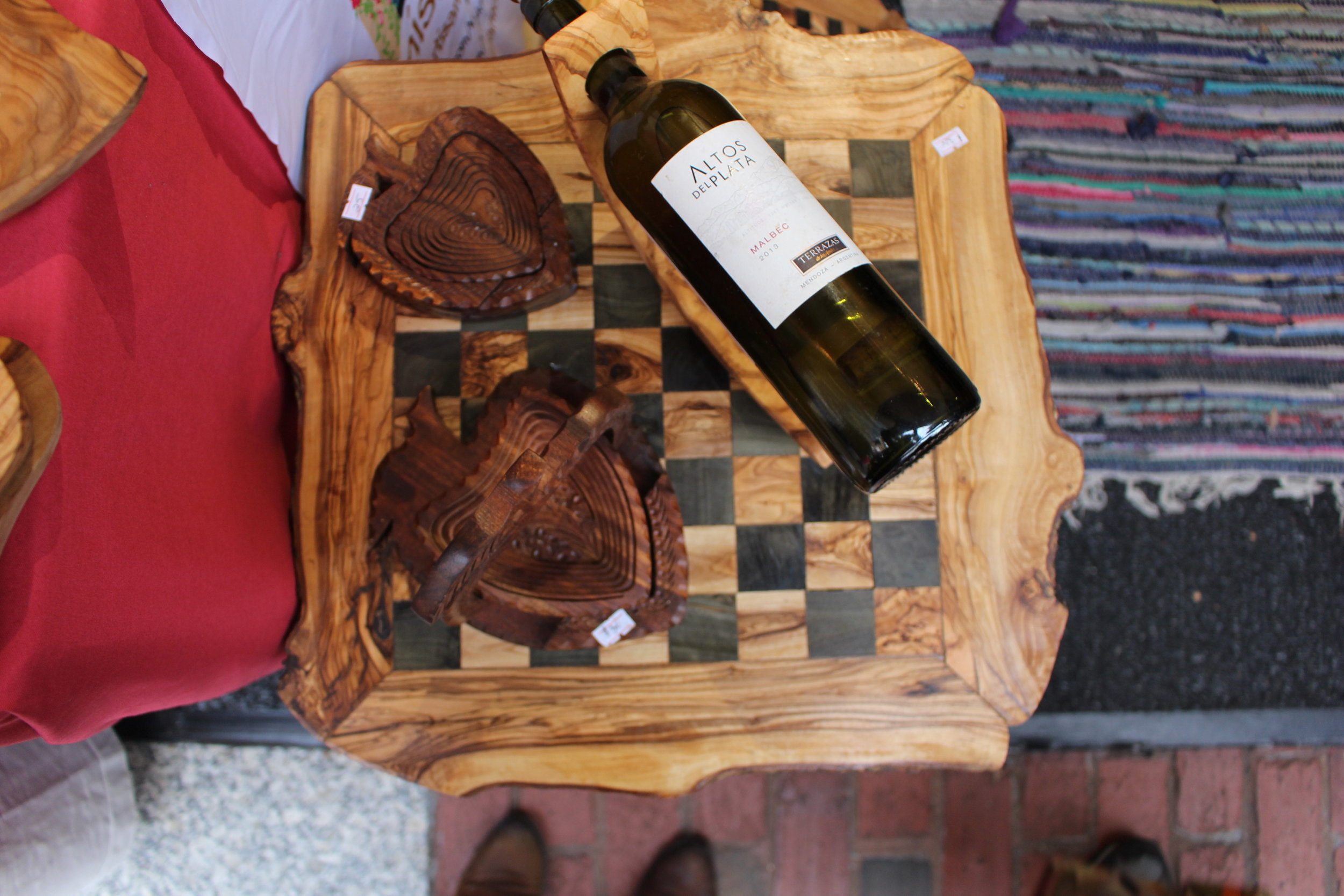 Everything Tunisia. A wine holder and chess board from the North African country at Naj Alroud's booth in downtown DC. Photo By Natalie Hutchison
