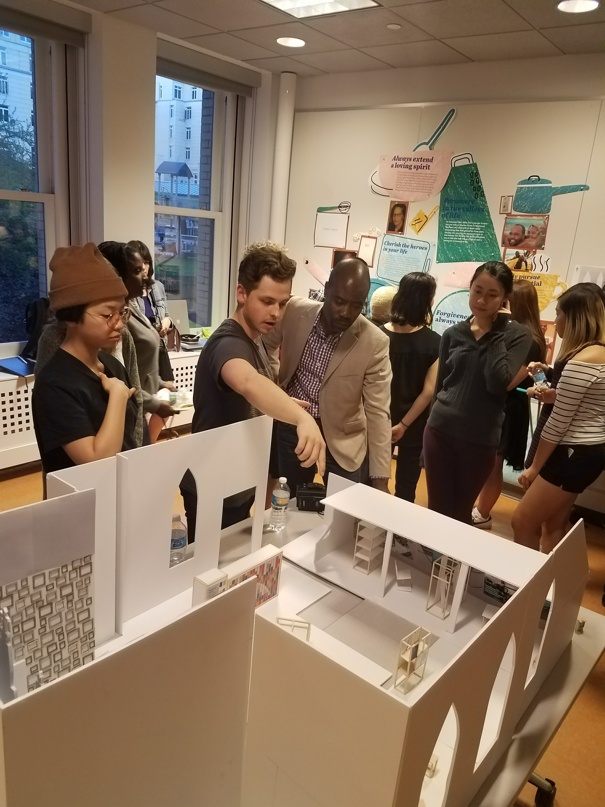 Discussing the content and values of the exhibition - As the students designed the exhibition themes and pieces, we invited the community members to co-design with us and share their feedback. The process of including the members in creating the exhibit was another way of implementing empowerment and sense of belonging for the participants. Through continuously conducting workshops, interviews, and discussions throughout the design process, the final work came to be genuinely centered around the Hazelwood community.