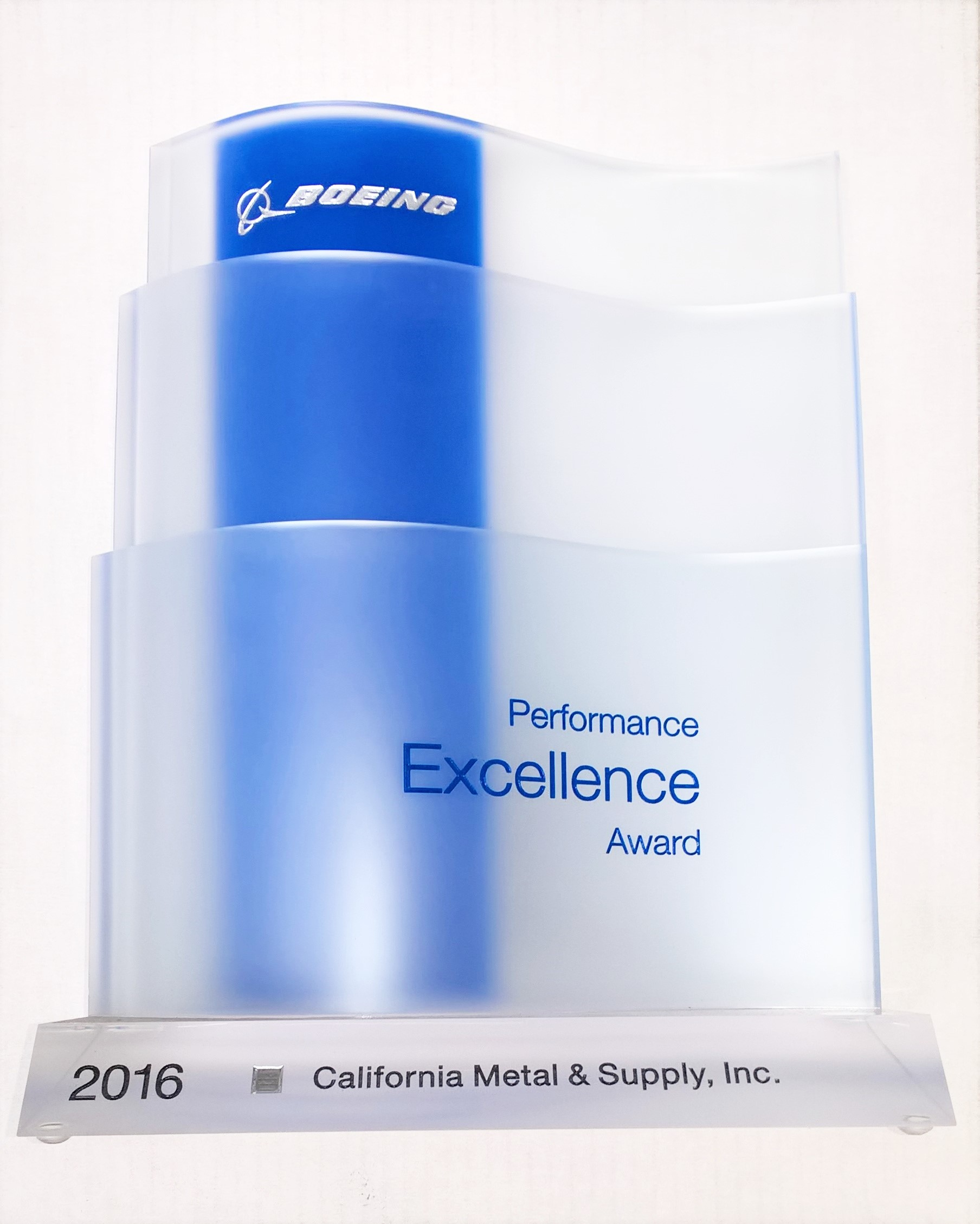 2016 Boeing Performance Excellence Award