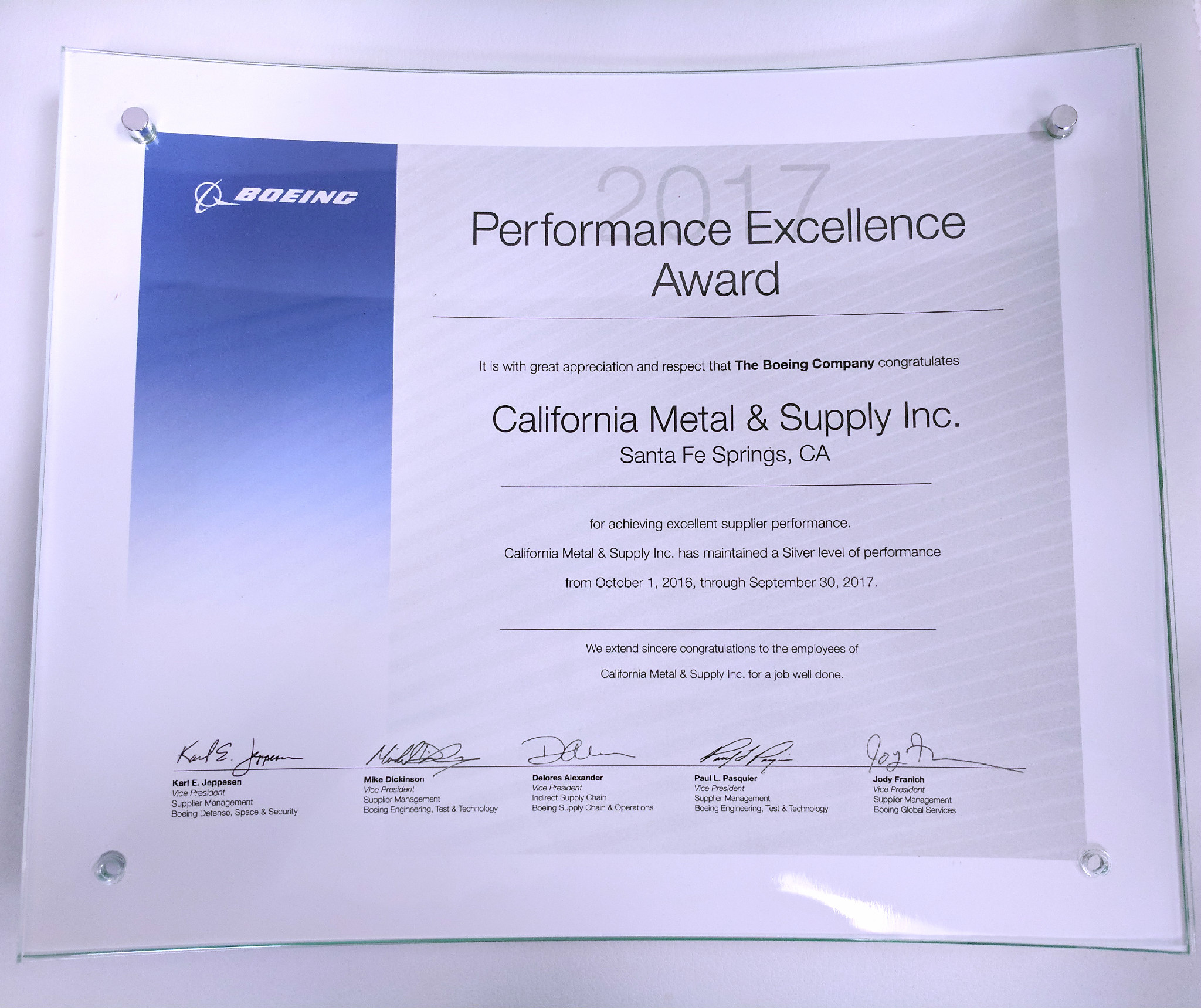 2017 Boeing Performance Excellence Award Plaque