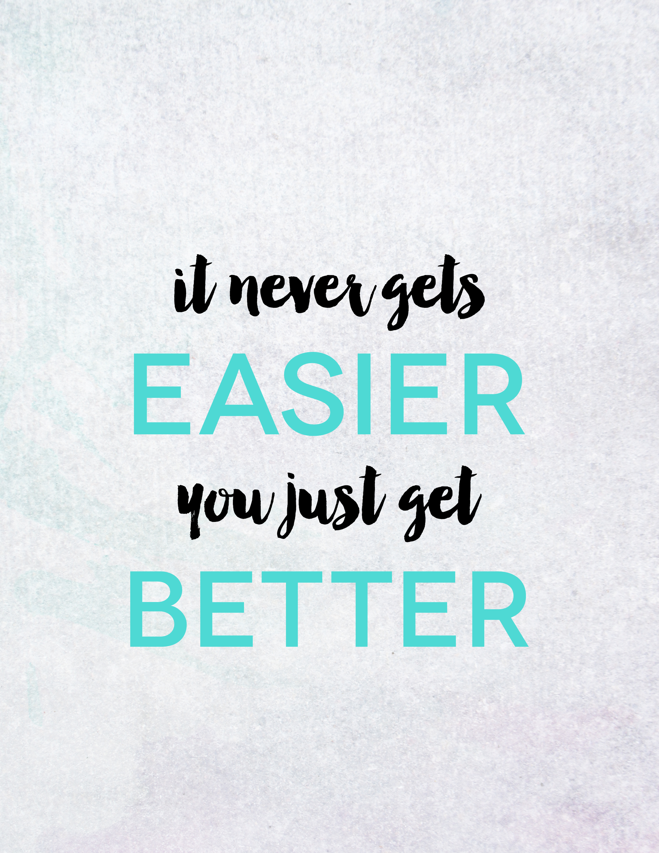 It never get's easier, you just get better | Monday Mantra, Motivational Quotes
